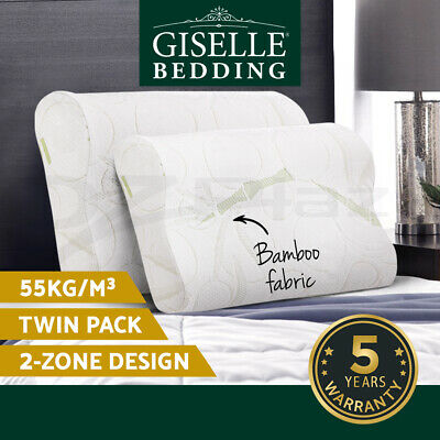 Giselle Bedding 2x ECO LAND Bamboo Contour Pillow Memory Foam Cover 50x30cm
