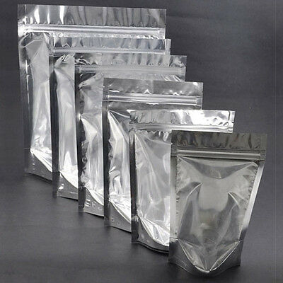 100x Ziplock Grip Seal Bags Stand Up Pouch Clear Front Aluminium Foil Back Inner