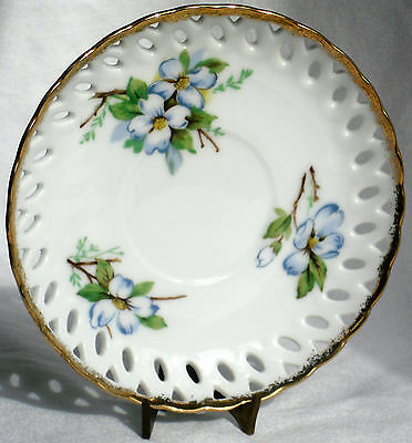 Vintage SAUCER only for Teacup by Cherry China of Japan, Blue Flowering Dogwood