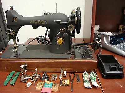 Vintage 1951 Centennial Singer Sewing Machine w/lots of accessories
