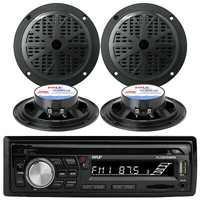 "4 Black 5.25"" Enrock Speakers, Kenwood USB CD Bluetooth AUX iPod Marine Radio"