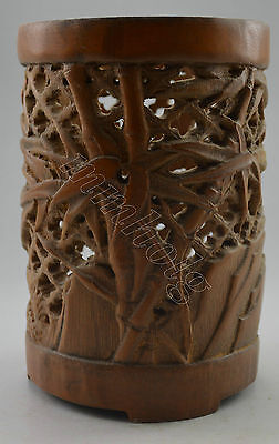 Collectible Decorated Old Handwork Bamboo Carved Hollowed Brush pot