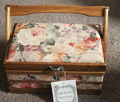 Sewing craft box Hand Crafted wooden chest Fabric Covered Sewing Box