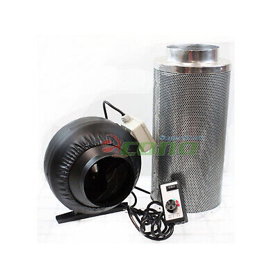"""6"""" Carbon Filter Inline Fan Air Blower Speed Controller Hydroponic Odor Scrubber"""