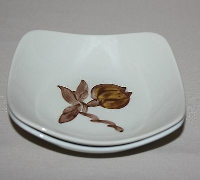 2 Fruit Dessert Sauce Bowls Orchard Ware Magnolia Brown Flower Square California