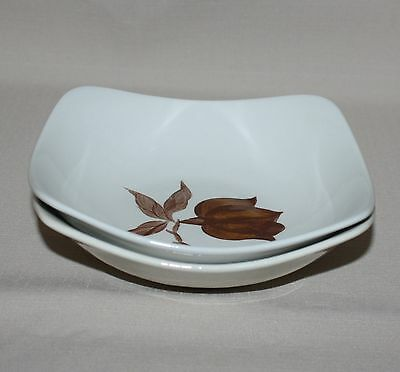 2 Soup Bowls Orchard Ware Magnolia Brown Flower Square California Pottery