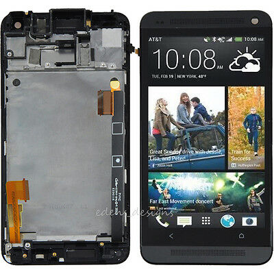 Black LCD Touch Screen Digitizer Assembly W/Frame For HTC One M7 USA Replacement