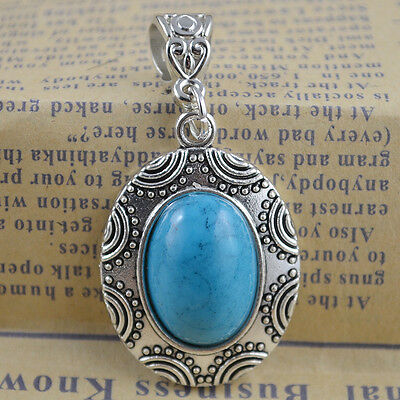 New Classical Natural hot Turquoise cute tibet silver Pendant    *&*xL1093