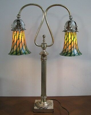 Two Signed Steuben Green Decorated Shades on a Silver Library or Desk Lamp!