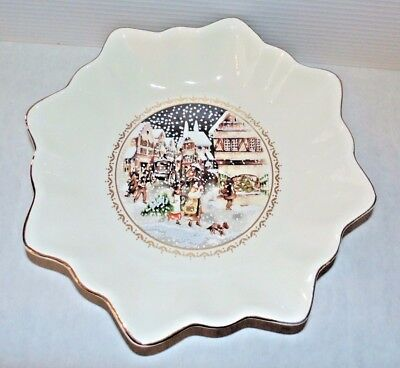 Mid Century Vintage Christmas White Hand Painted Victorian Winter Scene Bowl