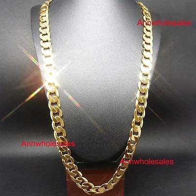 """30"""" inch Men STAMPED 24KGL 24K Yellow Gold Filled Curb Chain Necklace Men's"""