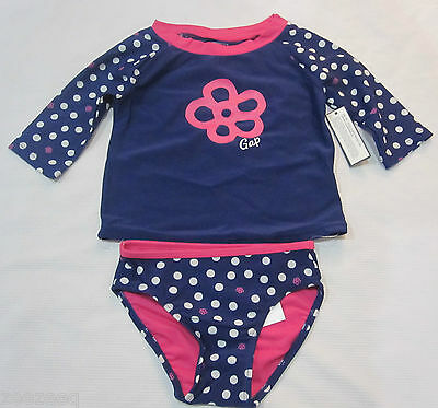 BABY GAP Girls Blue Polka Dot Rashguard Bathing Swimsuit 2  3  4  5