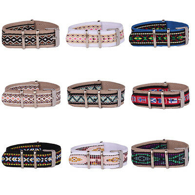 Retro Vintage 20mm National Styles Nylon Watch Strap Wristwatch Band Fabric