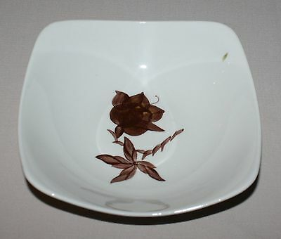 Orchard Ware Magnolia Vegetable Serving Bowl Brown Flower Square California