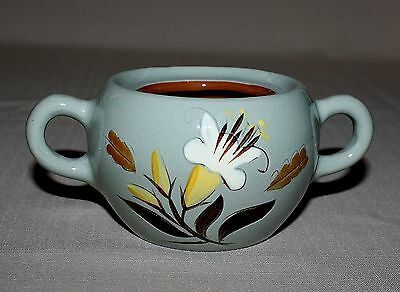 Stangl Pottery Golden Harvest Blue Sugar Bowl No Lid White & Yellow Flower