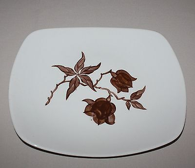 Platter Orchard Ware Magnolia Serving Plate Brown Flower Square California