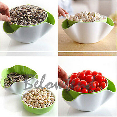 Useful 2 In1 Fruit Candy Snack Nut Compote Holder Dish Tray Decoration Plate New