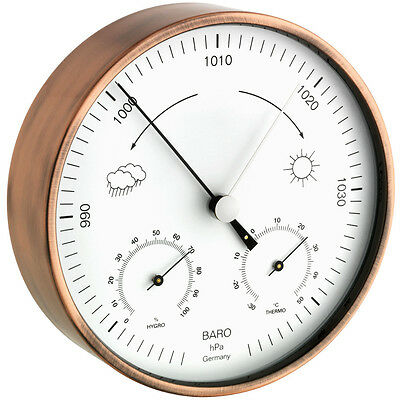 Indoor Outdoor Weather Station Copper Tfa 20.2027.51 Barometer Thermo Hygrometer