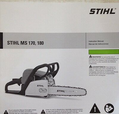 STIHL CHAINSAW MODELS MS 170 MS 180 Owner's Manual c - $6 82   PicClick