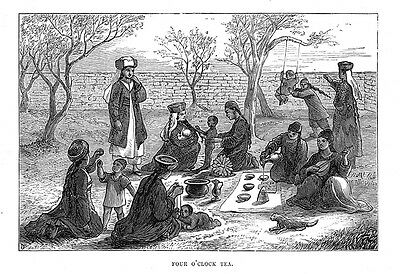 KAZAKHSTAN Four O'clock Tea in Eastern Turkestan - Antique Print 1875