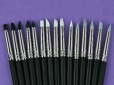 #2 Set D 15 Silicone Color Shaper Clay Sculpting OOAK Tools Grey/Black/White
