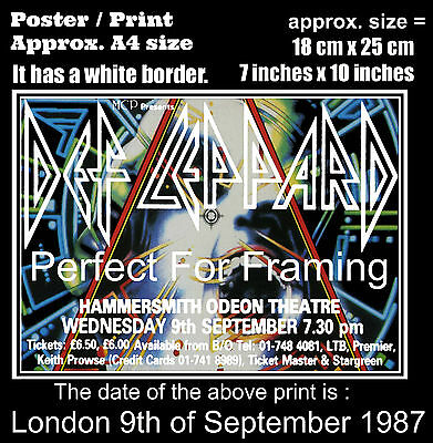 Def Leppard live concert at London 9th of September 1987 A4 size poster print