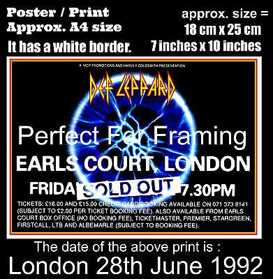Def Leppard live concert Earls Court London 28th June 1992 A4 size poster print