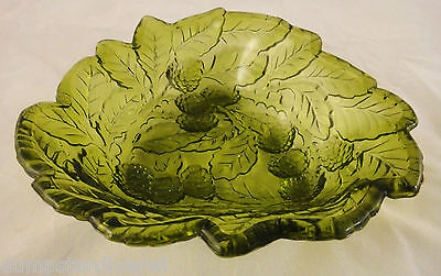 Loganberry Leaves Green Candy dish bowl Indiana vintage depression Glass