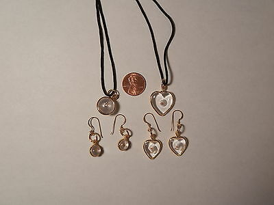 MUSTARD SEED PENDANT & EARRING SETS 1 LARGE HEART & 1 LARGE ROUND