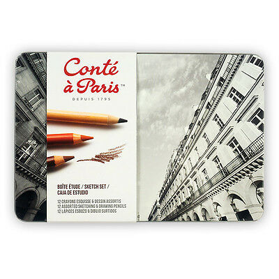 Conte Artists Sketch Set. Quality Sketching & Drawing Pencils Tin Set of 12