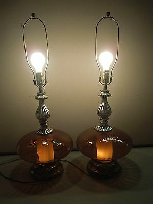 Pair Mid-Century Modern Amber Glass Globes Table Lamps Hollywood Regency Vintage