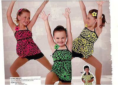 NWT Wolff Fording Dance COSTUME 3 colors jazz top & booty shorts black Girls szs