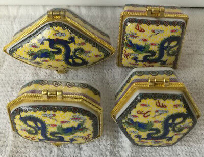 4 pieces Jingdezhen Porcelain jewelry box painted flying dragons free shipping