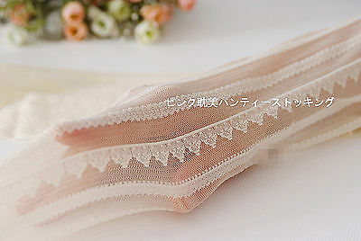 Women white Vintage lace embroidery Stripe Stockings Pantyhose Tights Opaques