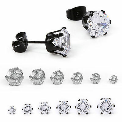 1 Pair Fashion Men's Crystal Stainless Steel Ear Studs Earrings Jewelry Gift S2U