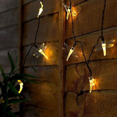 Outdoor Solar Powered Warm White LED Dragonfly String Fairy Lights Home Lighting