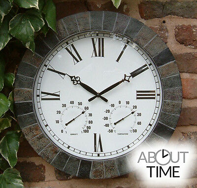 Large Slate Effect Garden Wall Clock & Thermometer Outdoor Humidity Traditional
