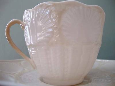 Vintage Belleek Of Ireland Cup & Saucer New Shell Yellow Pattern ~1965-1980~