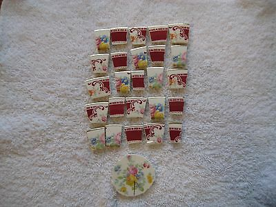 28 ANTIQUE PINK ROSE WITH FLOWERS RED BOARDER GOLD TRIM CHINA MOSAIC TILES