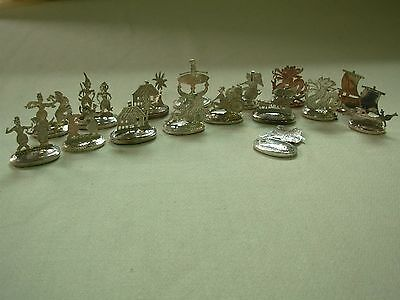16 Vintage Malay Malaysian Silver Figural Place Card Holders ~Nice Group~ Look!!