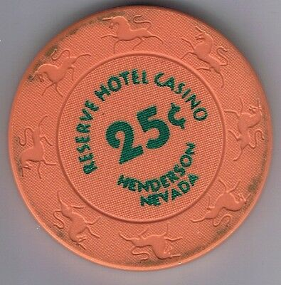 The Reserve Hotel Casino 25¢ Fractional Gaming Chip Henderson Nevada