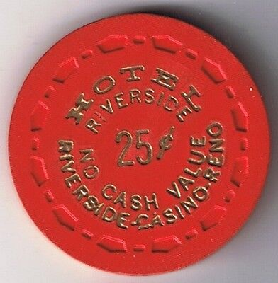 Riverside Hotel 25¢ Fractional Small Crown Mold Casino Chip Reno Nevada