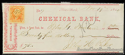 Obsolete Bank Check 1865 Chemical Bank New York $75 w/ Stamp Civil War Period.