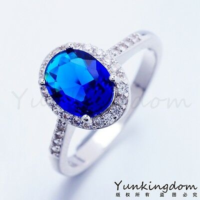 High Quality Elegant Blue Cubic Zircon Women Lady White Gold Plated Lady Rings