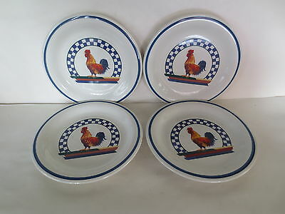 Century Stoneware Remy Rooster Pattern Salad / Dessert Plates - set of 4