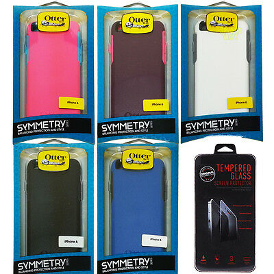 """FOR IPHONE 6s 4.7"""" OTTERBOX SYMMETRY SLIM CASE COVER &TEMPERED GLASS SCREEN FILM"""