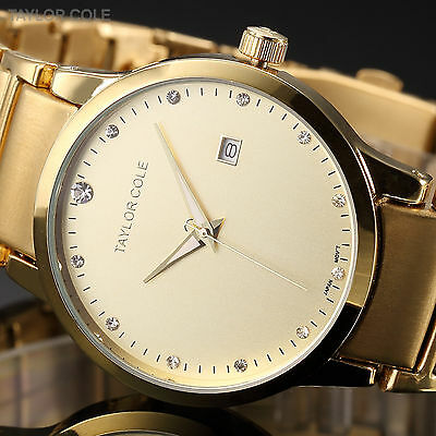 TAYLOR COLE Lady Women Minimalist Date Stainless Steel Analog Quartz Wrist Watch