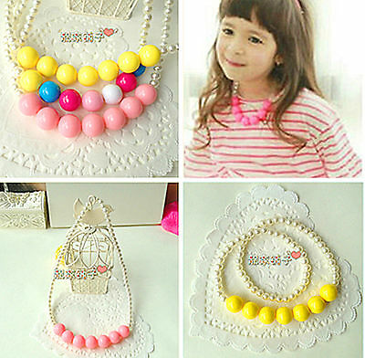 Kids Children Girl Sweet Round pearl beads cutie princess Necklace Pendant Gift