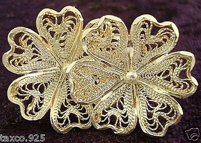 Taxco Mexican Sterling Silver Filigree Floral Flower Earrings Mexico