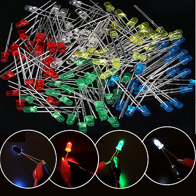 100pcs One Set 3mm LED Light White Yellow Red Green Blue Assorted Kit DIY LEDs